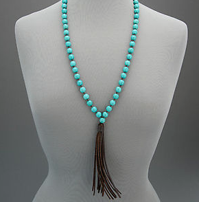 Necklaces -  Turquoise Beaded Leather Tassel - 3just3