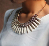 Necklaces -  White Statement Necklace with Crystals - 3just3 - 2