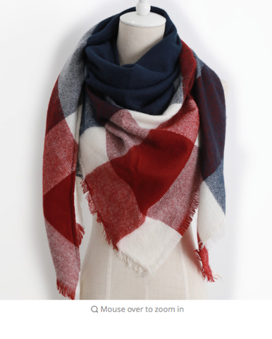 Scarfs - Plaid Red/Whit & Blue Scarf - 3just3