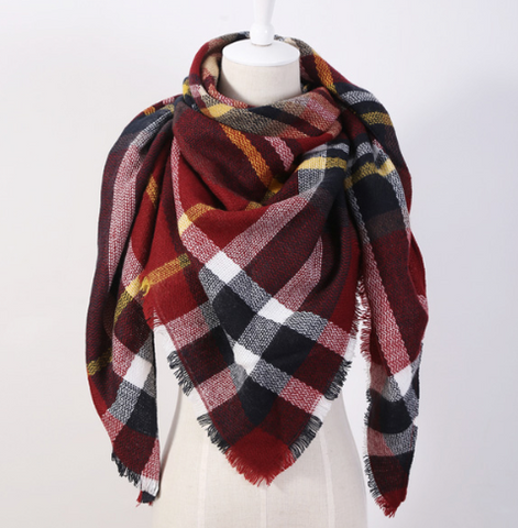Scarfs - Ruby Plaid  Scarf - 3just3