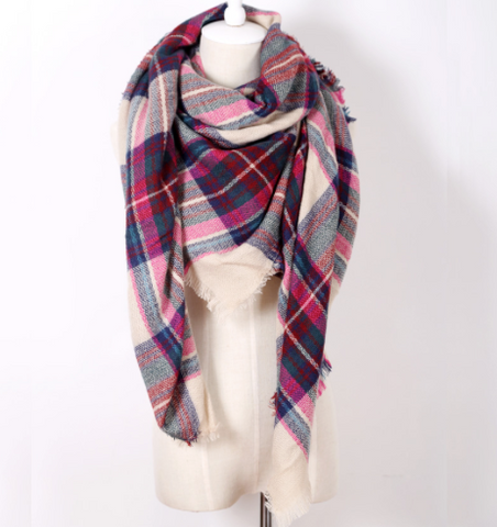 Scarfs - Pink Plaid  Scarf - 3just3 - 2