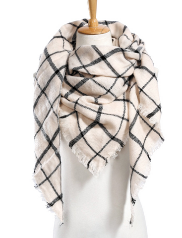 Scarfs - Cream and Black Scarf - 3just3 - 1