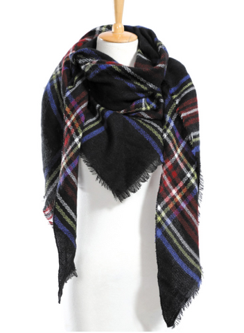 Scarfs - Dark Blue Plaid Scarf - 3just3