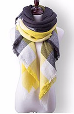 Scarfs - Yellow Grey Plaid Scarf - 3just3