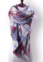 Scarfs - Ruby Sky Blue Plaid Scarf - 3just3