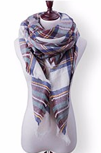 Scarfs - Light Multi Color Plaid Scarf - 3just3