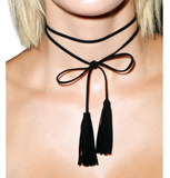 Necklaces -  Black Leather Tassel Choker - 3just3 - 2