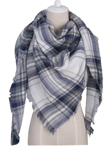Scarfs - Warm Beige Plaid Scarf - 3just3
