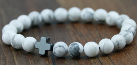 Men Bracelet - White Bead with Silver Cross - 3just3