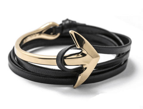 Men Bracelet - Gold Anchor Black Wrap Bracelet