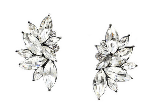 Earrings - Leaf Diamond Statement Earnings