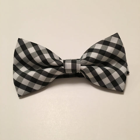 Men Bow Ties - Thick White & Black Plaid - 3just3