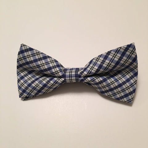 Men Bow Ties - Thin Blue Plaid - 3just3