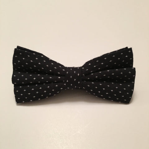 Men Bow Ties - White Cross on Black - 3just3