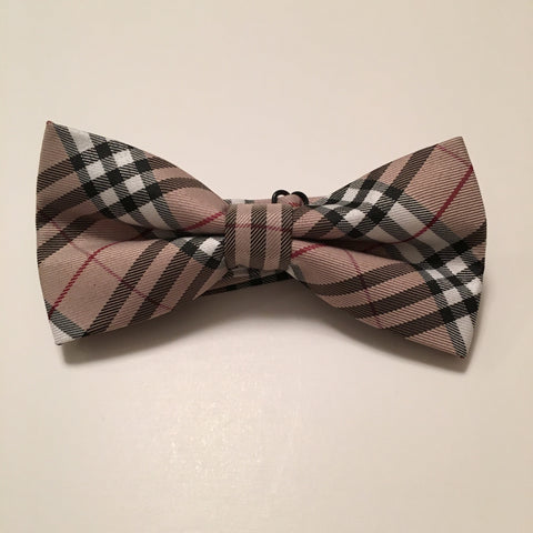 Men Bow Ties - Wide Brown Plaid - 3just3