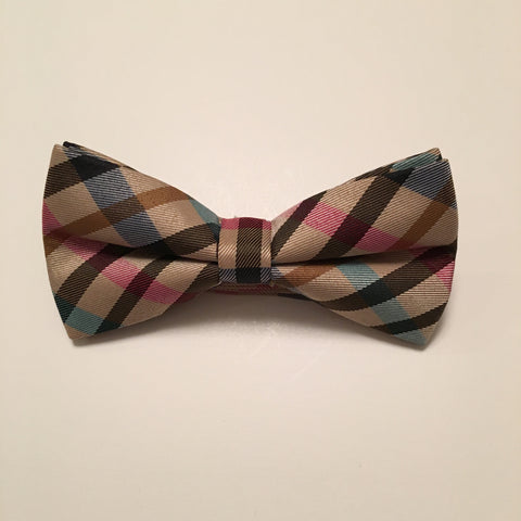 Men Bow Ties - Brown Pink Plaid - 3just3