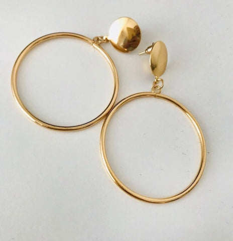 Earrings - Gold Stud Hoops