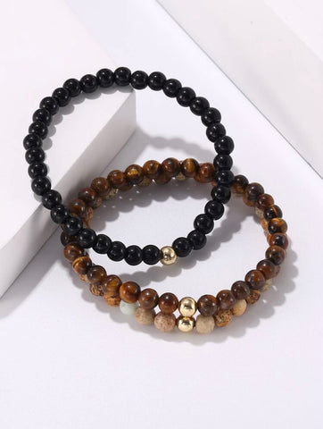 Men Bracelet - 3pc Men's Beads Bracelet with Gold Bead Set