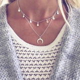 Necklace - Silver Layered Crescent Moon Necklace