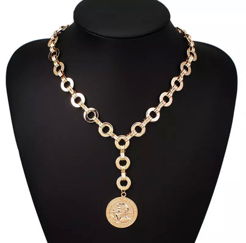 Necklace - Gold Medallion Y Necklace