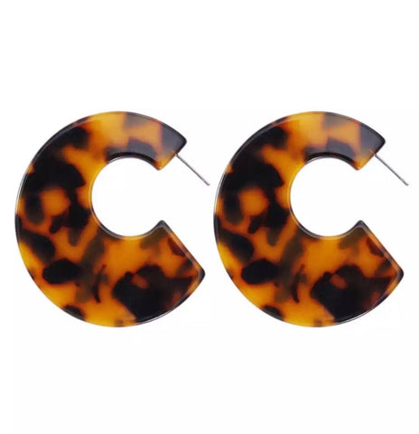 Earrings -  Tortoiseshell Flat Earrings