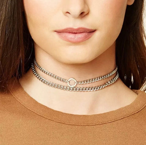 Necklace - Silver Chain Link Choker Set