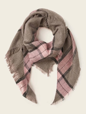Scarfs - Plaid Pink and Tan Blanket Scarf