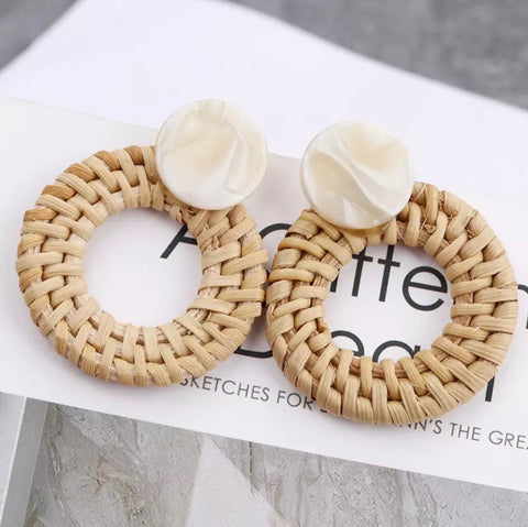 Earrings -  Rattan Earrings with Marble Stud