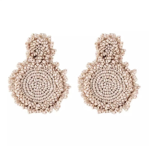 Earrings - Cream Beaded Drop Earrings