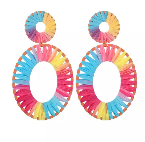 Earrings -  Rainbow Rattan Earrings