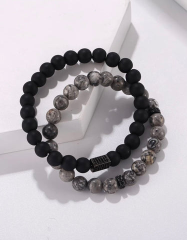 Men Bracelet - 2pc Men's Marble Bracelet Set