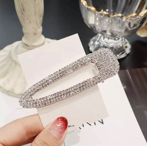 Hair Piece - Oversized Diamond Hair Clip - Silver