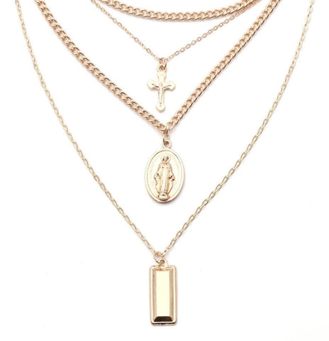 Necklace - Gold Four Layered Cross and Virgin Mary Necklace