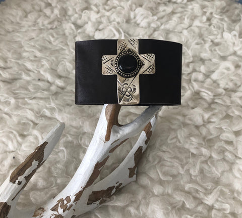 Bracelet - Leather Cross Bracelet