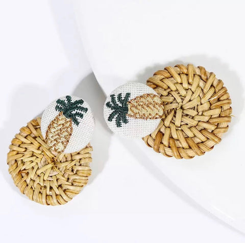 Earrings -  Pineapple Rattan Earrings