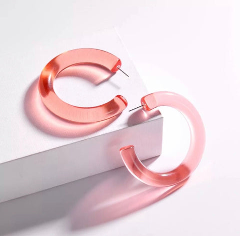 Earrings -  Pink Acrylic Hoops