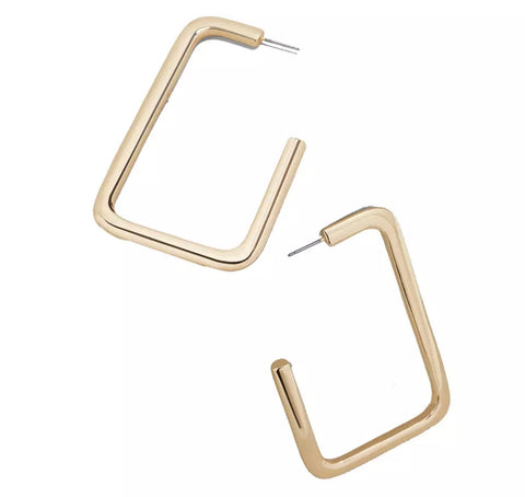 Earrings -  Gold Rectangular Earrings