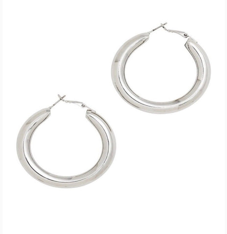 Earrings -  Chunky Circle Silver Hoops