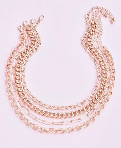 Necklaces -  Multi-layer Gold Curb Link Chain Necklace