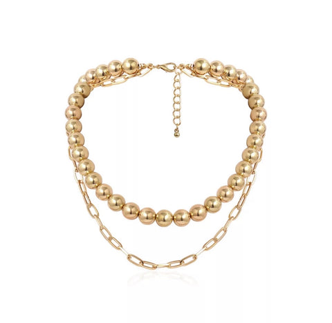 Necklaces - Gold Ball Necklace Set
