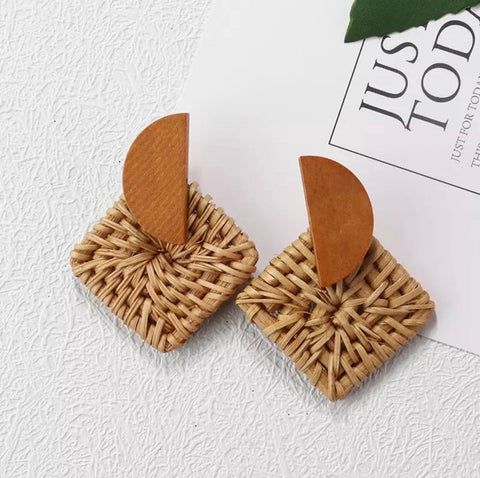 Earrings -  Square Geo Rattan Earrings