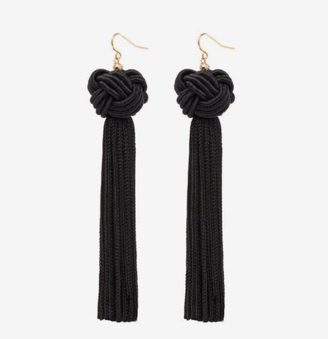 Earrings - Black Knotted Tassel Earrings