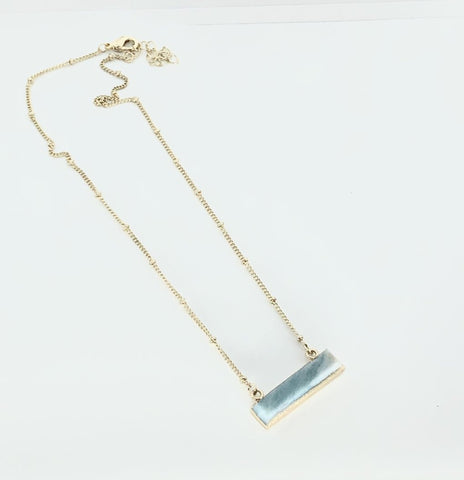 Necklace - Light Blue Bar Necklace