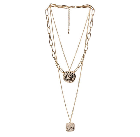 Necklaces - Multi Layered Medallion Necklace