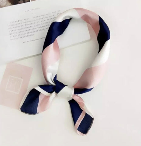 Scarves - Navy Blue & Pink Stripe