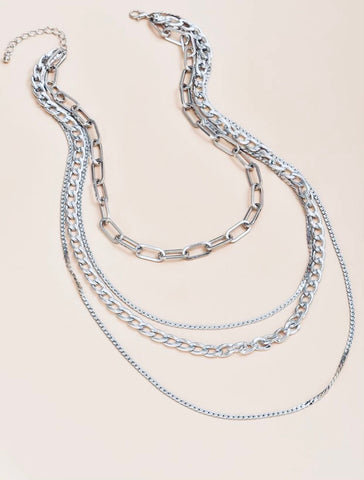 Necklaces - Multi-layer Silver Link Chain Necklace