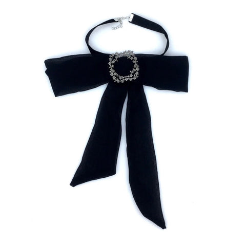 Necklace - Black Bow Choker