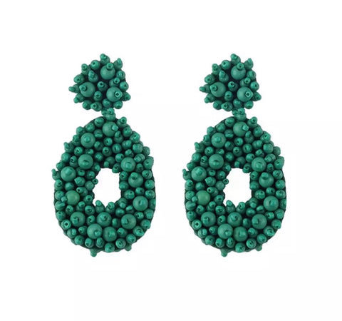 Earrings - Emerald Green Beaded Drop Earrings