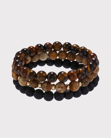 Men Bracelet - 3pc Men's Beads Bracelet Set