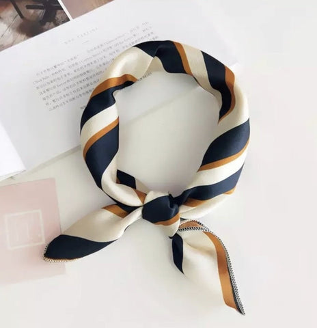 Scarves - Navy Blue & Golden Stripe
